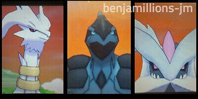 Pokemon ULTRA SUN & MOON All 3 Shiny Reshiram Zekrom Kyurem lvl 100 6IV 3DS home