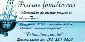 RÉPARATION DE PISCINES CREUSÉE ET HORS-TERRE.