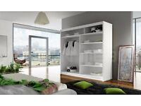 WHITE OR PINE COLOUR MIRROR WARDROBES W 120 , 150 , 180 H 215mm next day delivery within 50 miles