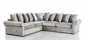 LIVERPOOL GLP SILVER VELVET CORNER OR 3+2 SEATER SOFA | 1 YEAR WARRANTY | EXPRESS DELIVERY ALL UK