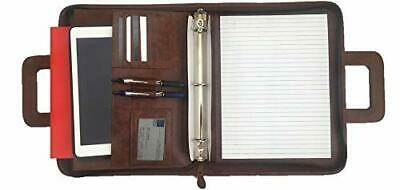 Brown Professional Business Padfolio Portfolio Briefcase Style Tablet Holder Org