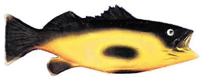 Morris Costumes New 14 Inches Rubber Fish Latex Clown Black Yellow Prop. VA32