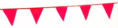 Plastic Pennant - PENNANT BANNER 60' ft String Triangular Flags RED Plastic hanging parking lot