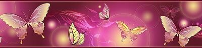 Bordüre-Fototapete 17m(1,05€/m) Tapete Zimmer Schmetterling lila Poster Zimmer