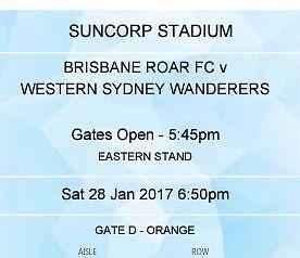 2 tks for $30 Brisbane Roar v WS Wanderers Cleveland Redland Area Preview