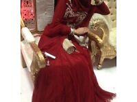 Maroon Asian maxi dress