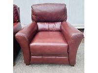 chocolate brown leather armchair very good condition