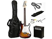 Brand new RockJam Full Size Electric Guitar Superkit with Amp, Strings, Strap, Case, Cable Sunburst