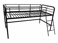 BLACK HIGH SLEEPER BED WITH LADDER AND MATTRESS