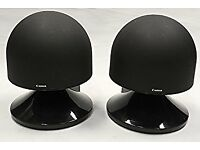 CANON S-50 WIDE IMAGING STEREO LOUDSPEAKERS (PAIR) BLACK & MATCHING STANDS.