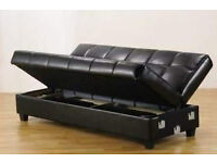 FAUX LEATHER SOFA BED WITH STORAGE UNDERNEATH CLICK CLACK SETTEE