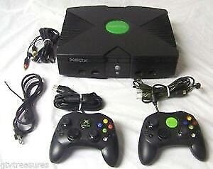 Modded Xbox with 2 controllers.