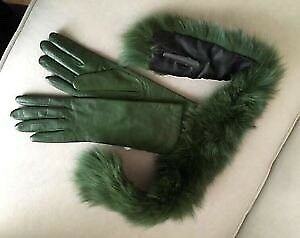 Green Long Leather Gloves & Fox Fur Collar - NEW! -$65