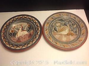 2 Hand Made Art Pottery Clay Wall Decor Plates