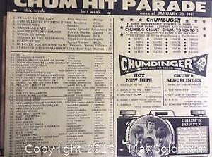 Vintage 1950s And 60s CHUM Radio Charts
