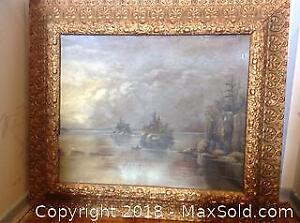 VINTAGE OIL PAINTING PASSING THE CLIFFS WITH VINTAGE FRAME A