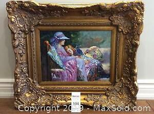 Gold Framed Oil Painting with Artist Signature