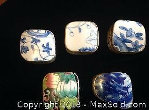 Asian Inspired 5 Porcelain And Tin Boxes A