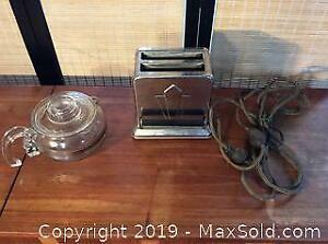 Vintage Westinghouse Toaster and Pyrex Coffee Pot