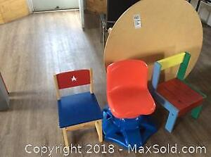 3 Children's Chairs And One Table-A