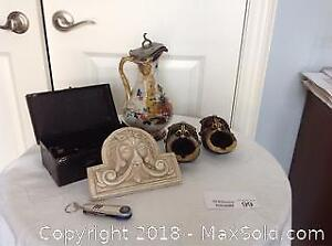 JUG, MEDIC BOX, ASH TRAYS, POCKET KNIFE,
