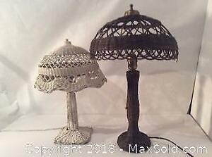 Two Antique Wicker Table Lamps