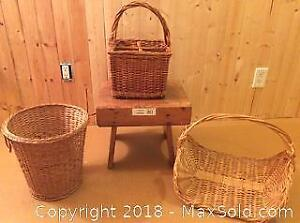 Baskets and Wood Footstool