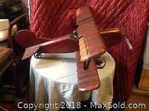 Extra Large Hand Crafted Airplane Vintage A