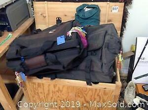 Camping Equipment, Sports Bags And Wood Chest C