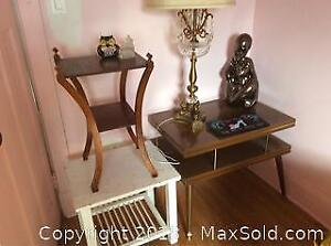 Three Tables Lamp And Decor Items - C