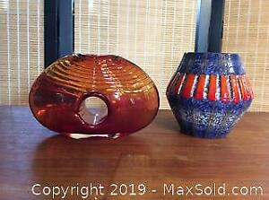 Mid Century Hand Blown Glass and Pottery