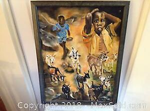 Moses Phiri Herdboys Task Oil Painting On Canvas B