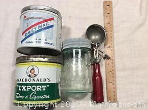 2 Vintage Tobacco Cans, Ice Cream Scoop, Jar