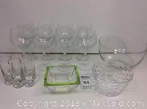 Wine Glasses, Shot Glasses And Glass Bowls