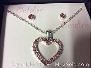 Costume Jewelry October Heart Necklace And Earrings