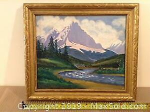 Mountain And River Scene Framed Oil On Board B