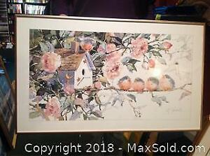 Framed Print Of Four Birds And A Birdhouse