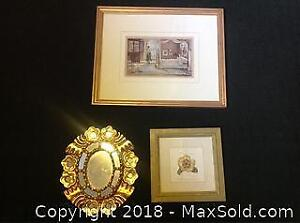 Gold Hued Trio Of 2 Prints And 1 Painting