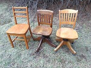 3 Wood Office Desk Chairs C