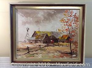 H V Pundleider Barn Oil Painting On Canvas A
