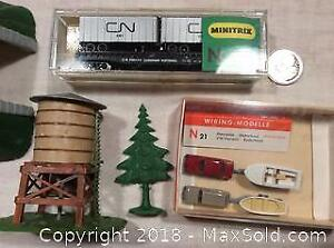 N Scale Train Tunnel, CN Cars, Water tower, Boats
