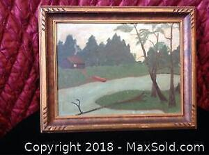Signed Folk Art Painting On Board A