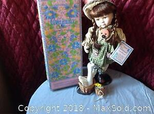 Vanessa Porcelain Doll With Tags Animals and Stand