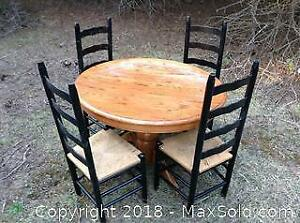 Oak Table And Ladder Back Chairs C