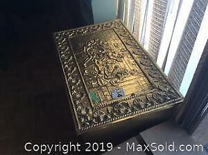 Vintage Treasure Chest / Wood Box /Coal box with Metal Cladding F