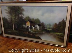Signed Oil On Canvas Old Sugar Mill by H. Wilson A