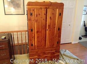 Solid Cedar Wood Armoire Clothes Cupboard C