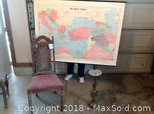 Vintage Chair And Ashtray Stand. Holy Land Map