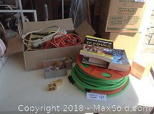 EXTENSION CORDS, POWER BAR, BOOKS, NAPKIN RINGS