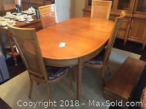 VINTAGE DINING TABLE WITH SIX CANE BACK CHAIRS & TWO EXTRA LEAFS-C